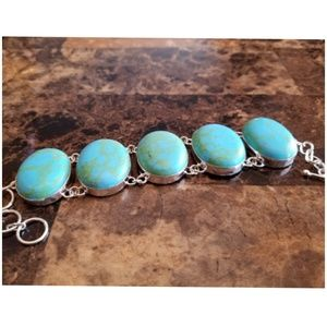 "Jewelry - Faux Turquoise BIG bracelet 8.25"" long"